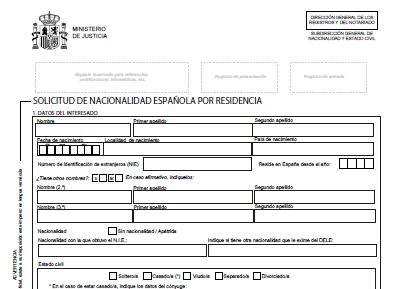 Resultado de imagen para solicitud de nacionalidad por residencia españa